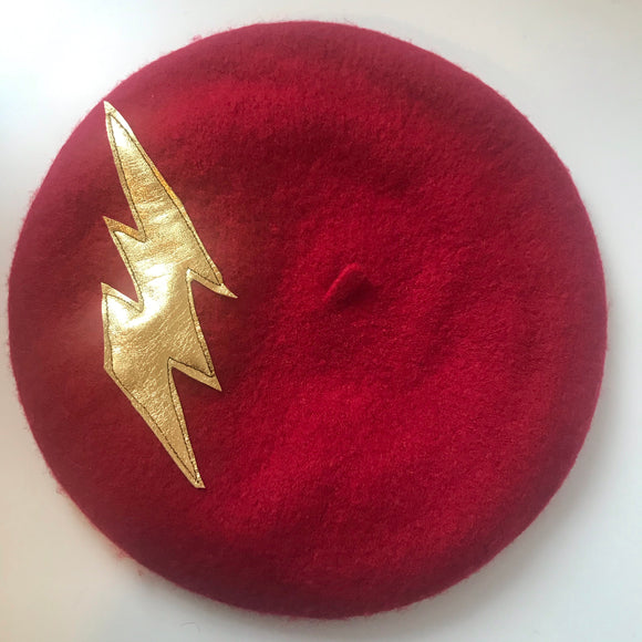 Lighten berets - wool berets with a gold leather lightening