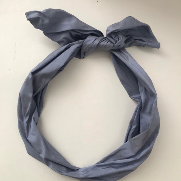 light blue silk wired hairband, uk