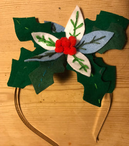 Christmas felt holly hairband craft kit
