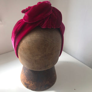 Raspberry red silk velvet wired hairband