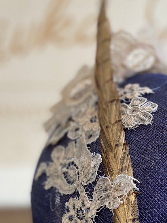 Navy blue and lace hat/fascinator- for weddings