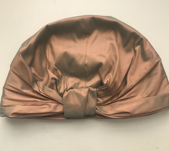 silk turban in golden sunset orange