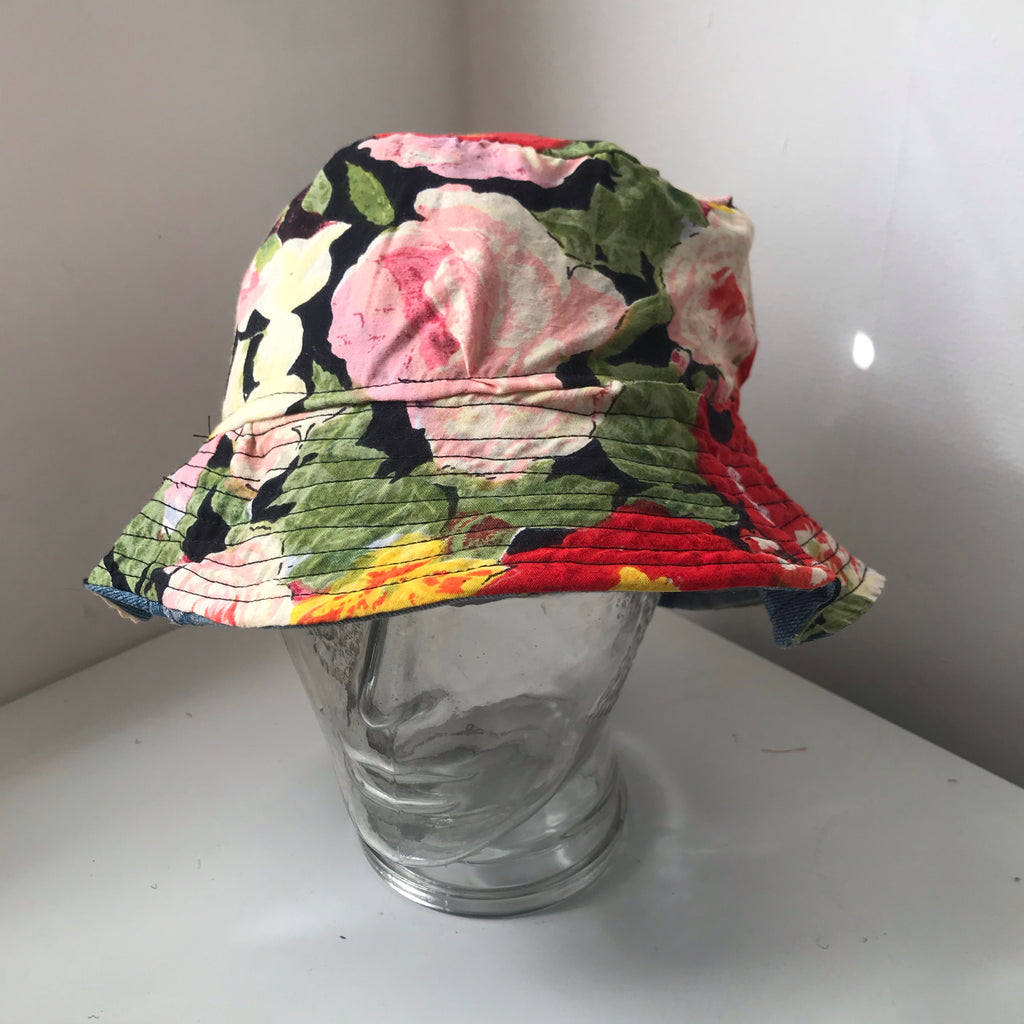 Double sided denim bucket hat - with floral pattern