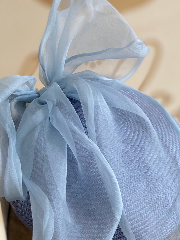 Light blue hatinator/beret with big silk bow