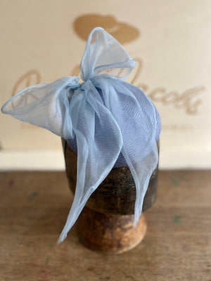 Light Blue hatinator with big silk bow