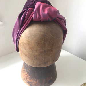 purple velvet and silk double layered hairband
