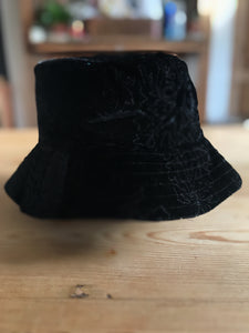 black velvet bucket hat, with black stitched pattern