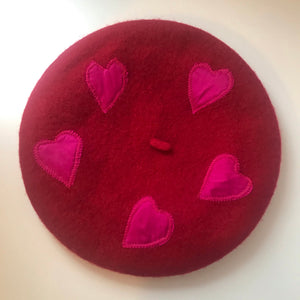 Love Brigade  berets - wool berets with silk hearts