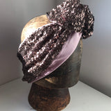 Brown sequin with pink silk hairband