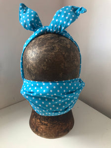 Turquoise and white poka dot wired headband with matching mask combo