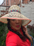 Vintage style Straw sun hat with red and floral edging