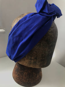 Royal blue silk wired hairband