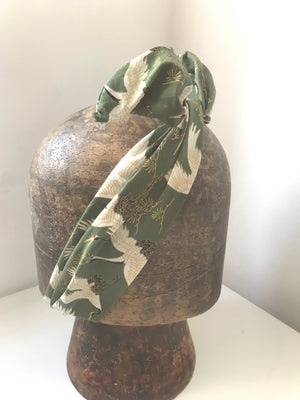 Green Japanese Stalk fabric wired headbands