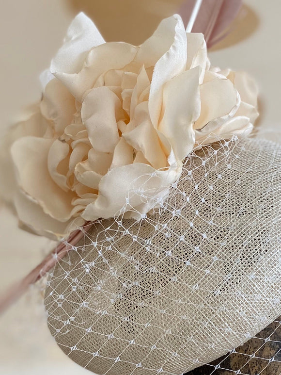 Cream button beret with cream rose, veiling, quills