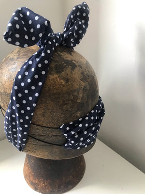 Navy and white poka dot wired headband with matching mask combo