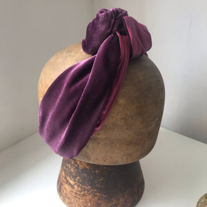 Lavender velvet and red silk wired hairband