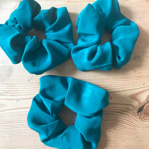 Green silk scrunchies