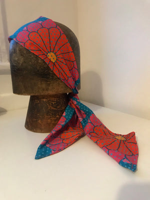 Beautiful floral 60's print soft headband with elastic and ties