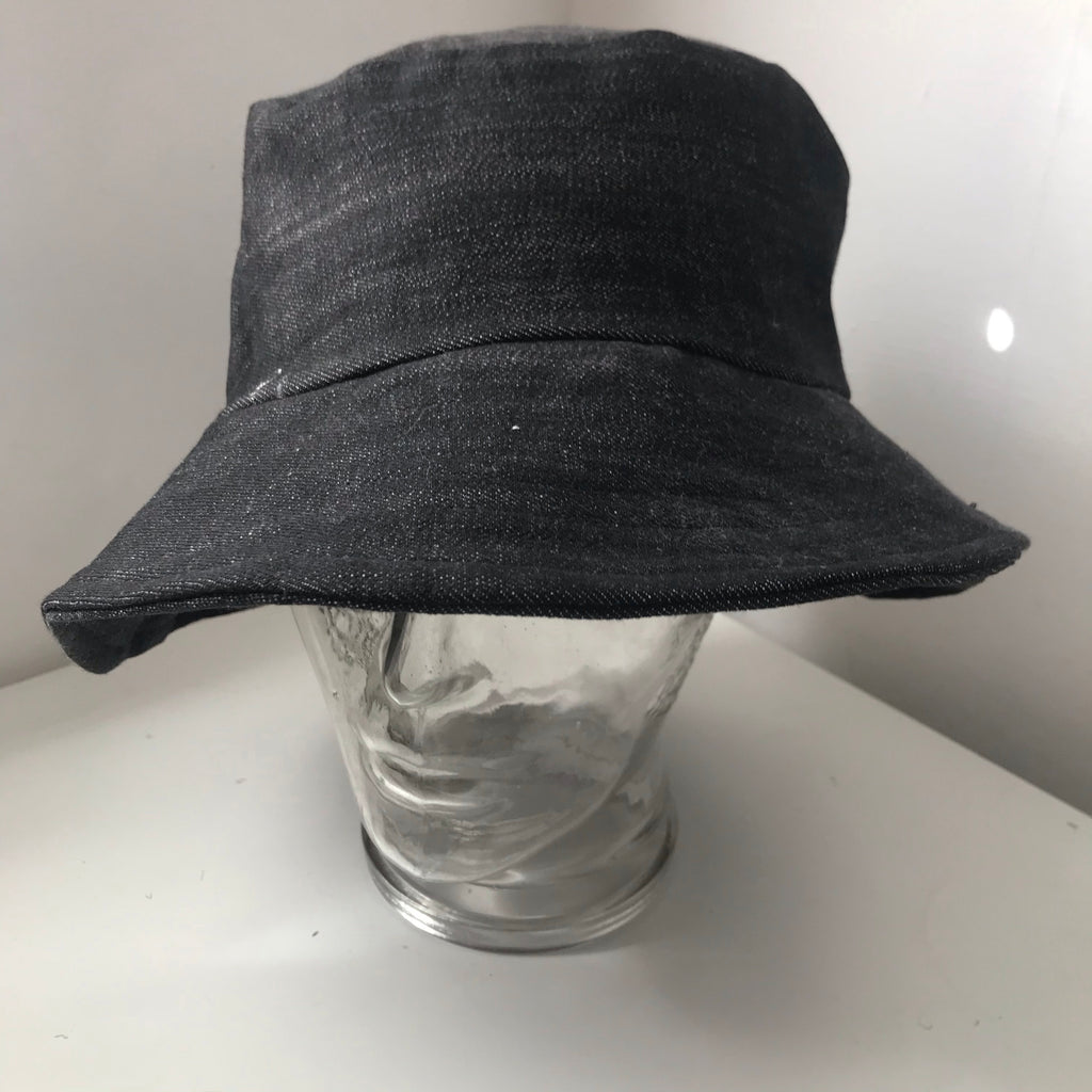 Black denim bucket hat