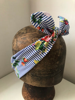 Blue and white striped with floral print-wired headbands