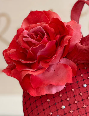 Red rose sparkle hatinator- for weddings