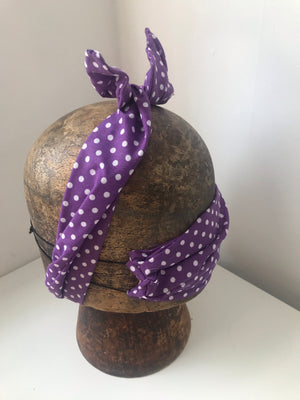 Purple and white poka dot wired headband with matching mask combo