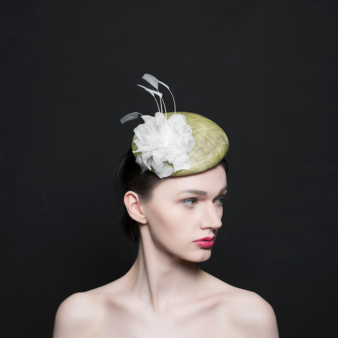 light green button beret hat/fascinator with a silk white rose and a spray of white feathers, mother of bride, Ascot