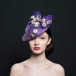 Purple petal shaped hat/fascinator with purple coin bow with embroidery flowers. perfect for weddings or Ascot