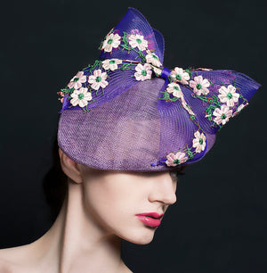 Purple petal shaped hat/fascinator with purple coin bow with embroidery flowers. perfect for weddings or Ascot, made In Exeter, Devon