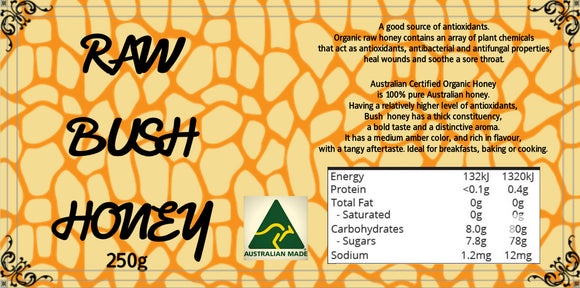 Raw Bush Honey 250g - combat nutrition