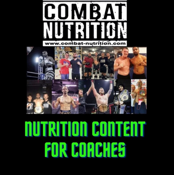 Nutrition content for coaches + food for fighters recipe book + 50 nutrition & BIOHACKING infographics - combat nutrition