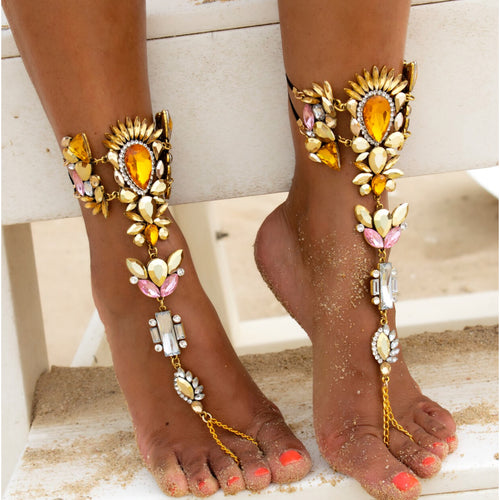 Antalia Gold Foot Jewels - foot jewellery for beach weddings, beach parties, or festivals - Jewels of Jupiter