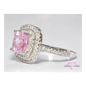 Saturn - Chunky Square-Shaped Pink Diamante Stone Ring - Jewels of Jupiter
