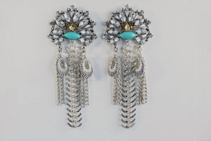 Capella - Pendant Earrings With A Gold And Teal Centrepiece - Jewels of Jupiter