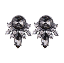 Denebola Black - Classic Dress Earrings Encrusted With Black Gems And Silver Edging - Jewels of Jupiter