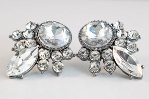 Denebola Clear - Classic Dress Earrings Encrusted With Clear Gems And Silver Edging - Jewels of Jupiter