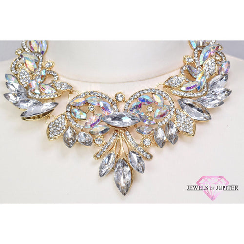 Rigel - Gold Necklace Inset With Gems Which Reflect Multi-Colours - Jewels of Jupiter