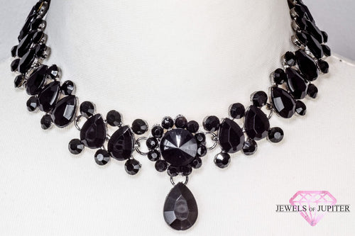 Luna - Diamante and Pearl Choker with Black Gems - Jewels of Jupiter