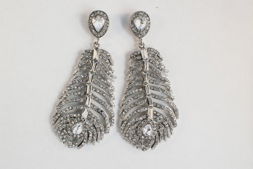 Antares Earrings - pendant earrings, leaf-shaped with clear gem and diamante - Jewels of Jupiter