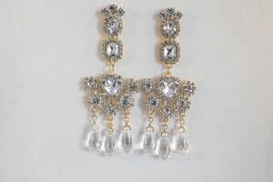 Altair Earrings - pendant earrings encrusted with gems and drop pearls - Jewels of Jupiter