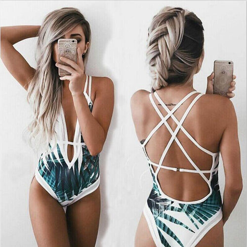 b5bcf0ed7c Sexy Deep Plunge Tropical Palm Leaf Trikini Bathing Suit Monokini Mesh Plus  Size Swimwear Women One