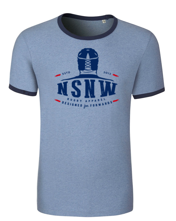 Blue no scrum no win rugby tee shirt