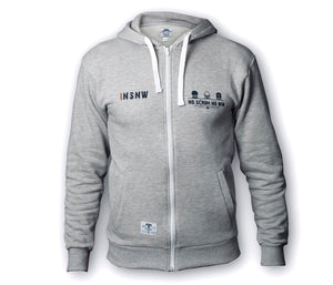 Zipped Grey No Scrum No Win rugby Hoodie
