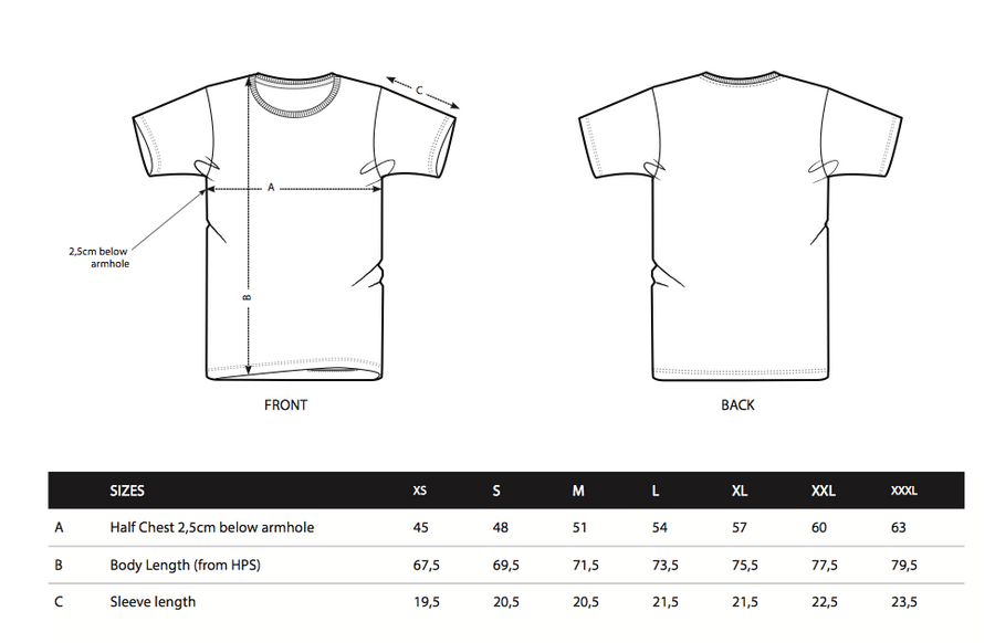 Round neck rugby t shirt size chart