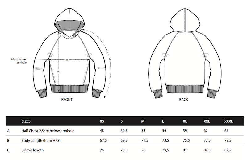 Rugby hoodie size chart
