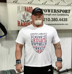 No scrum Wo Win rugby tee shirt worn by Ed Cosner strength and conditioning coach