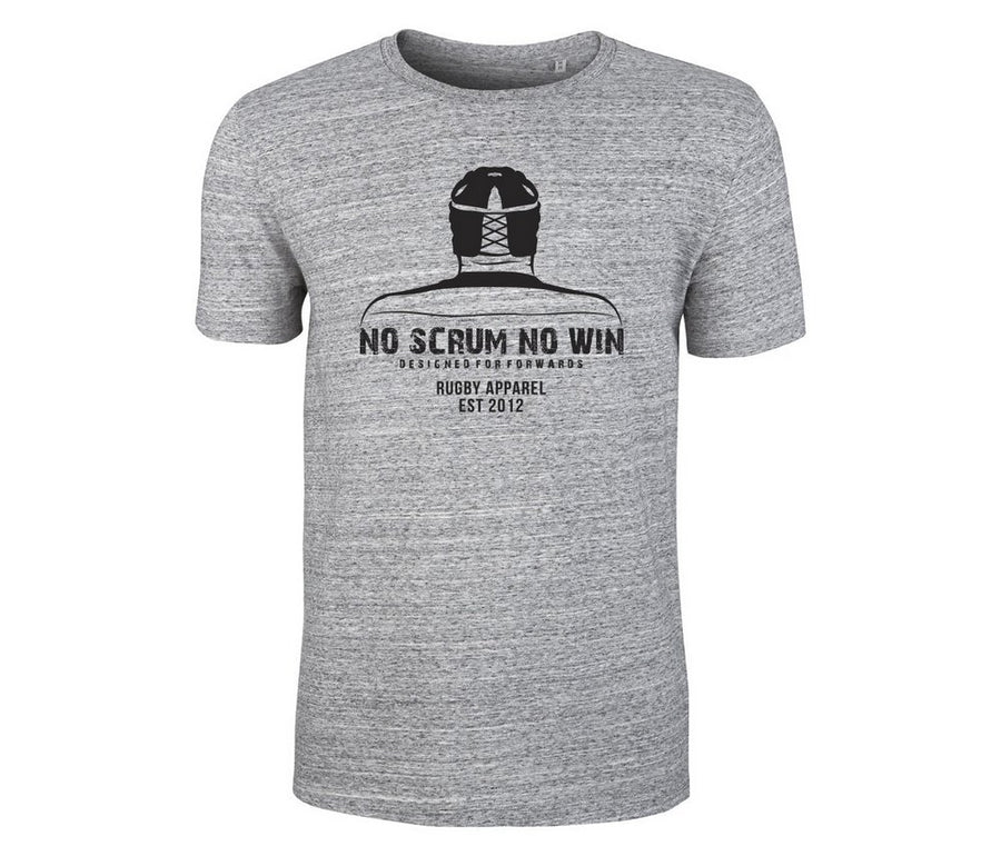 Grey No Scrum No Win rugby warrior tee shirt