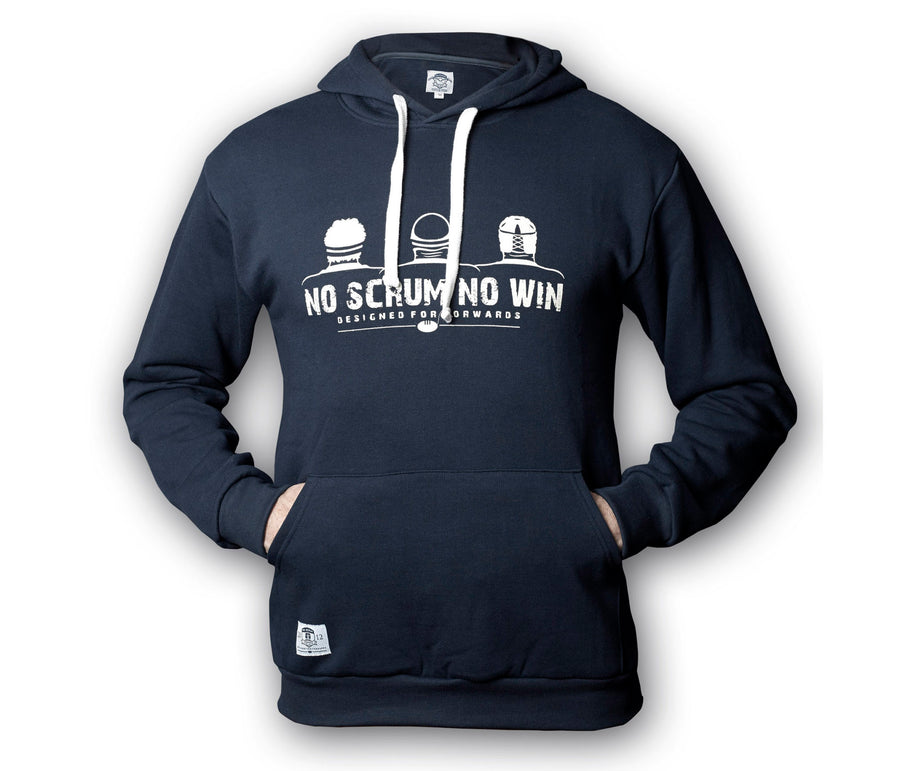 Navy No Scrum No Win rugby hoodie