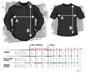 Size chart rugby zipped hoodie