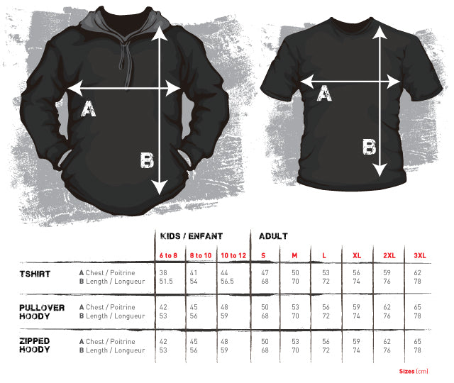 Size chart rugby hoodie zipper